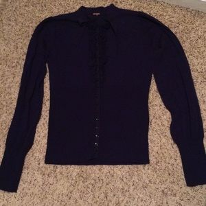 Free People Navy Wool Cardigan Tie Size Small